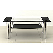Black & Clear Glass Coffee Table with Stainless Steel Legs