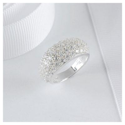Sterling Silver Pave Set Ring, Medium