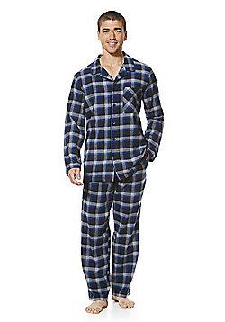 F&F Checked Flannel Pyjamas - Blue