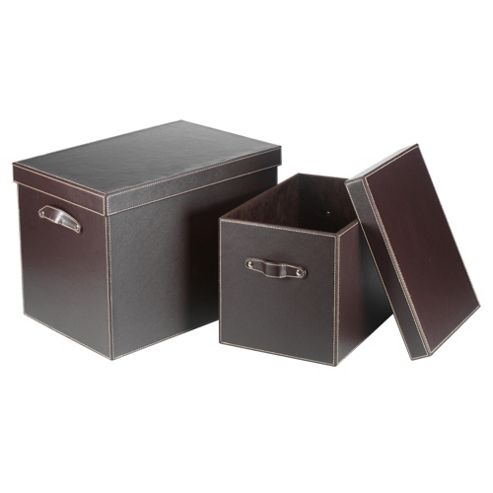 Leather Effect Storage Trunk, Set of 2