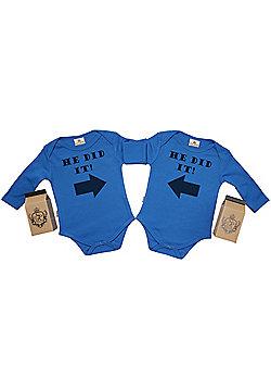 Spoilt Rotten - He Did It & He Did It Twin Set Babygrow in Milk Carton - Blue