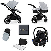 ickle bubba Stomp V3 Maxi Cosi AIO Travel System - Silver (Black Chassis)
