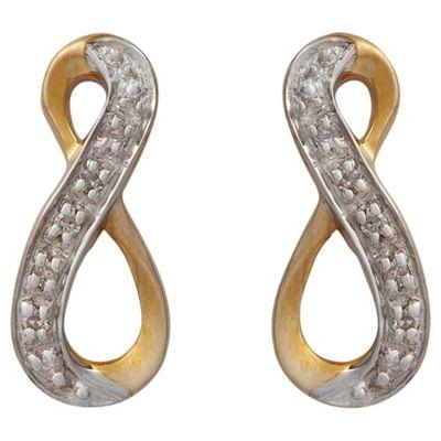 9ct Gold Diamond Twist Loop Earrings