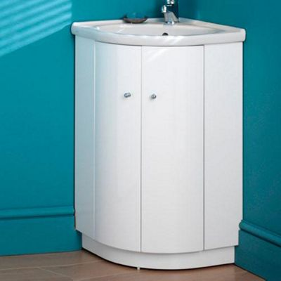 Duchy Trewyn White Floor Standing 2 Door Corner Vanity Unit and Basin - 470mm Wide
