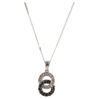 9ct White Gold Black And White Diamond Link Pendant