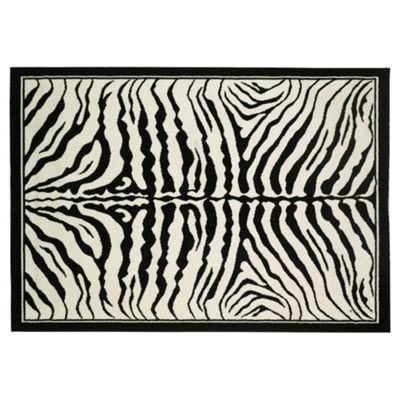 Tesco Rugs Zebra Print Rug, Black 115X160Cm