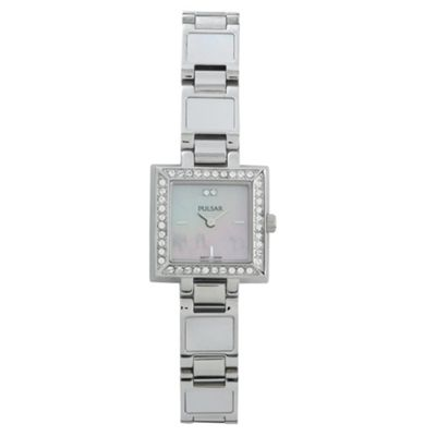 Pulsar Ladies Silver Square MOP Set Watch