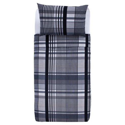 Tesco Check Print Single Duvet Cover Set, Grey