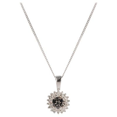 9ct White Gold Black And White Diamond Cluster Pendant