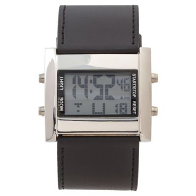 F&F Mens LCD Black Strap Watch