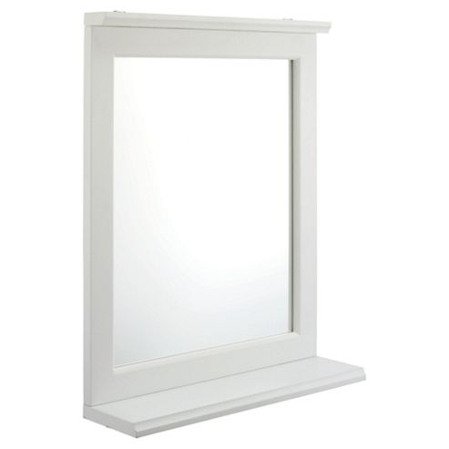 Southwold Bathroom Mirror With Shelf, White Wood Tongue & Groove