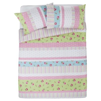 Tesco Rosebud Print King Size Duvet Cover Set, Pastel