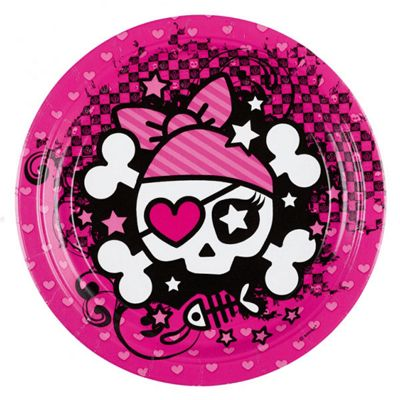 Pink Pirates Plates - 23cm Paper Party Plates - 8 Pack