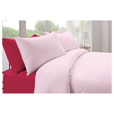 Tesco Plaindye Single Duvet Cover Set, Pink
