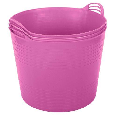 42L Plastic Flexi Tub - Set of 3 - Pink