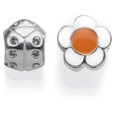 Sterling Silver Flower & Ladybug Charm 2 Pack color and style may vary