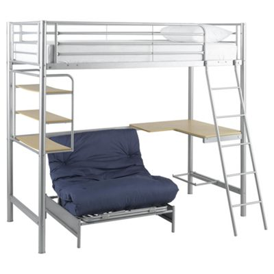 Mika High Sleeper With Single Futon Grey