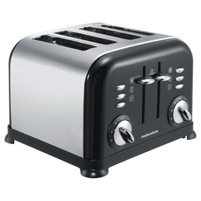Morphy Richards Accents Polished Black 4 Slice Toaster 44035