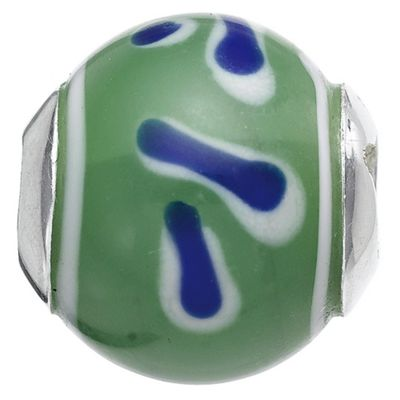 Truth Green/Blue Spot/Stripe Glass Charm