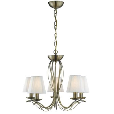 ANDRETTI 5 LIGHT ANTIQUE BRASS FITTING - CREAM STRING SHADES