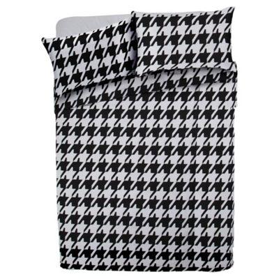 Tesco Basic Double Duvet Set - Dogtooth Print, Black