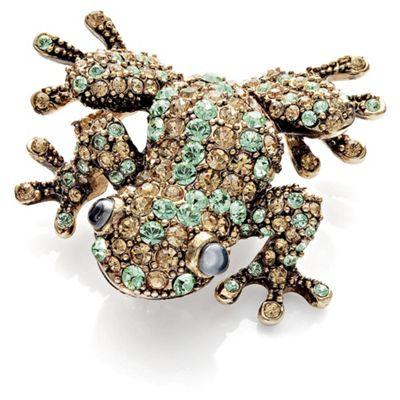 Pave Gold Tone Crystal Set Frog Brooch