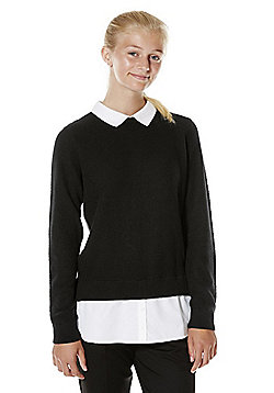 F&F School Mock Shirt Layer Jumper with As New Technology - Black