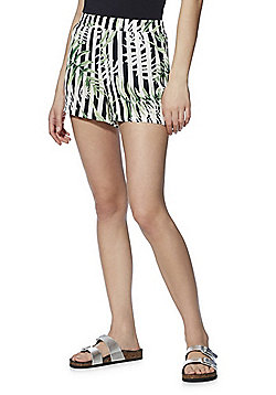 Only Striped Tropical Print Shorts - Multi