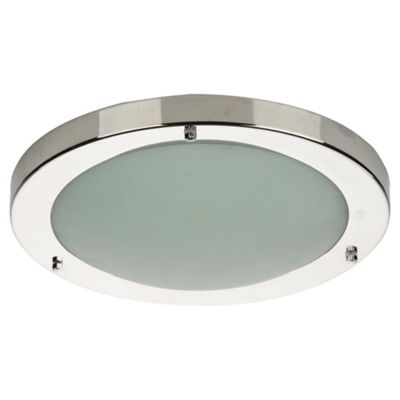 Tesco lighting chrome flush bathroom ceiling light with marble glass