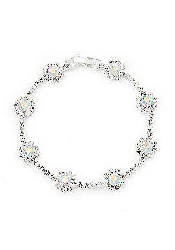 AB/Clear Swarovski Crystal Floral Bracelet In Rhodium Plated Metal - 17cm Length