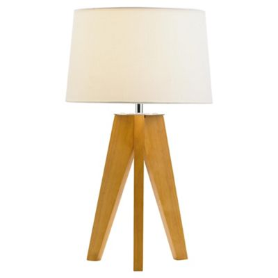 Buy Tesco Lighting Tripod Wooden Table Lamp From Our Table Desk