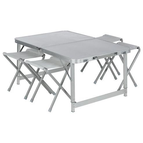 Tesco Double Folding Aluminium Camping Table & Chairs Set