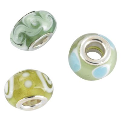 Silver green Glass Charm Bead 3 Pack