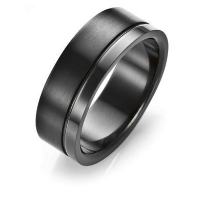 Stainless Steel Matt/Polish Black Ring, T