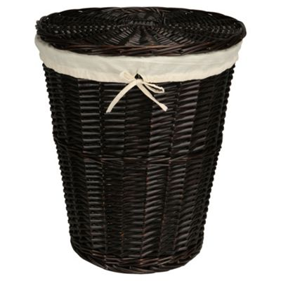 Tesco Wicker Laundry Basket, Chocolate