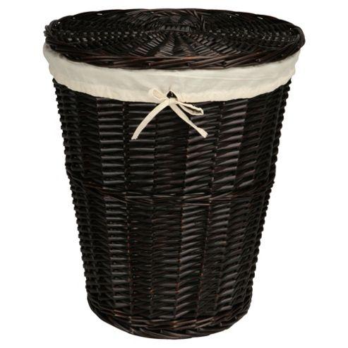 Tesco Wicker Laundry Basket, Chocolate