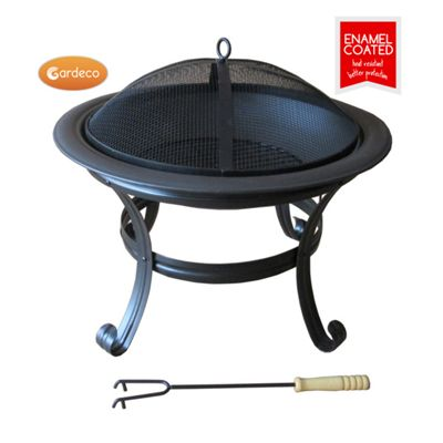 NEW ORIELO fire bowl in enamel black