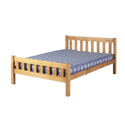 Comfy Living 4ft6 Double Farmhouse Style Wooden Bed Frame in Caramel with Damask Sprung Mattress