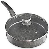 VonShef 28cm Marble Sauté - Pan Aluminium Cookware, Glass Lid With Steam Vent & Non-Stick Coating