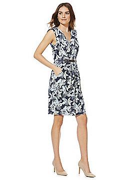 Mela London Belted Leaf Print Dress - Multi