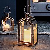 Large Copper Battery LED Candle Lantern