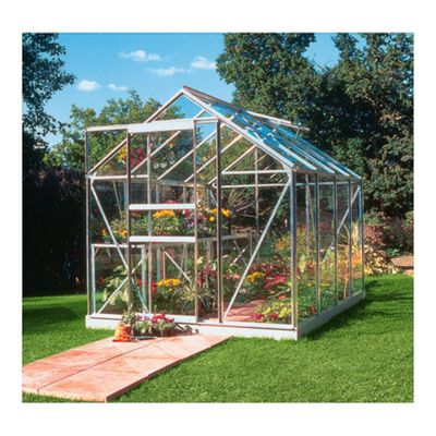 Halls Popular 6x10 Aluminium Greenhouse + Base-frame - Horticultural Glass