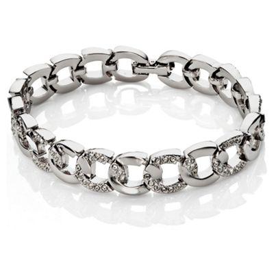 Pave Silver Tone Crystal Set Link Bracelet