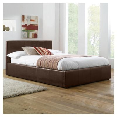 Hanson Double Faux Leather Ottoman Storage Bed Frame, Brown
