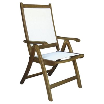 Windsor Reclining Garden Dining Chair, Wood & Fabric