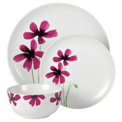 Tesco Watercolour Poppy 12 Piece, 4 Person Dinner Set, White & Pink