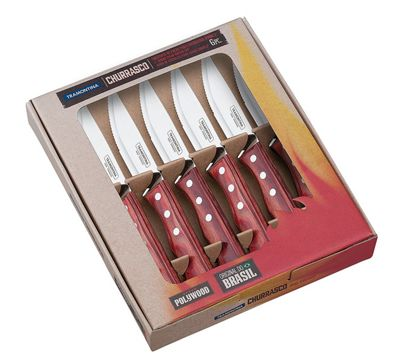 Tramontina Churrasco 5 inch Jumbo Steak Knife Set, 6 Piece Red