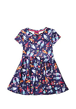 DreamWorks Trolls Flared Dress - Purple & Multi