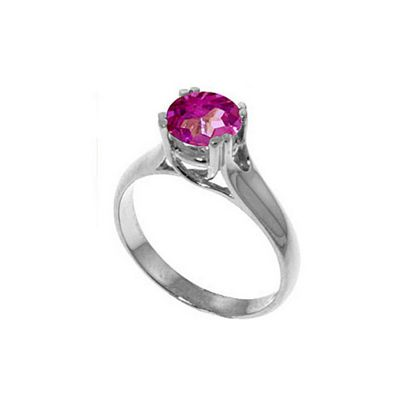 QP Jewellers 1.10ct Pink Topaz Solitaire Ring in Sterling Silver - Size B 1/2