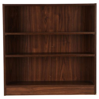 Fraser Walnut Effect 3 Shelf Bookcase, Wide